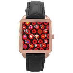 Polka Dot Texture Digitally Created Abstract Polka Dot Design Rose Gold Leather Watch