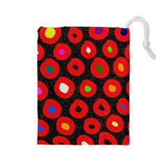 Polka Dot Texture Digitally Created Abstract Polka Dot Design Drawstring Pouches (large)