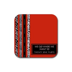 Poster Twenty One Pilots We Go Where We Want To Rubber Square Coaster (4 pack)
