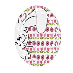 Easter bunny  Oval Filigree Ornament (Two Sides)
