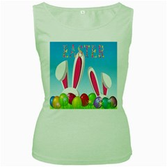 Easter bunny  Women s Green Tank Top