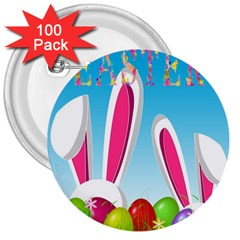 Easter bunny  3  Buttons (100 pack)