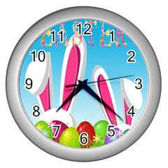 Easter bunny  Wall Clocks (Silver)