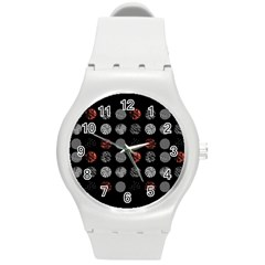Digital Art Dark Pattern Abstract Orange Black White Twenty One Pilots Round Plastic Sport Watch (M)
