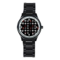Digital Art Dark Pattern Abstract Orange Black White Twenty One Pilots Stainless Steel Round Watch