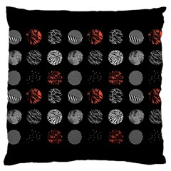 Digital Art Dark Pattern Abstract Orange Black White Twenty One Pilots Large Flano Cushion Case (Two Sides)