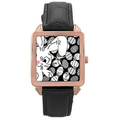 Easter bunny  Rose Gold Leather Watch