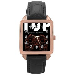 Twenty One Pilots Event Poster Rose Gold Leather Watch