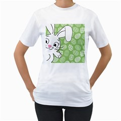 Easter Bunny  Women s T Shirt (white) (two Sided)