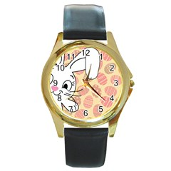Easter bunny  Round Gold Metal Watch