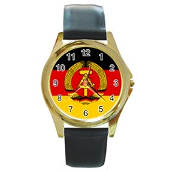 Flag of East Germany Round Gold Metal Watch