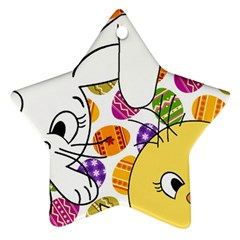 Easter bunny and chick  Ornament (Star)
