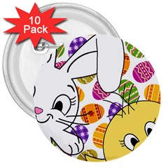 Easter bunny and chick  3  Buttons (10 pack)