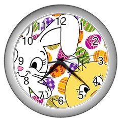 Easter bunny and chick  Wall Clocks (Silver)