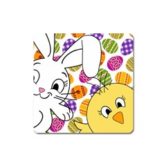 Easter bunny and chick  Square Magnet