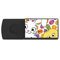 Easter bunny and chick  USB Flash Drive Rectangular (2 GB)