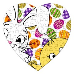 Easter bunny and chick  Jigsaw Puzzle (Heart)