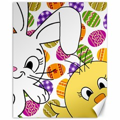 Easter bunny and chick  Canvas 11  x 14