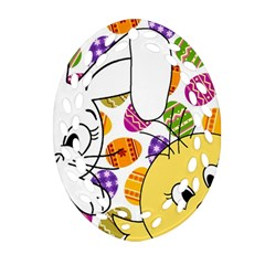 Easter bunny and chick  Ornament (Oval Filigree)