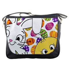 Easter bunny and chick  Messenger Bags