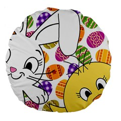 Easter bunny and chick  Large 18  Premium Round Cushions