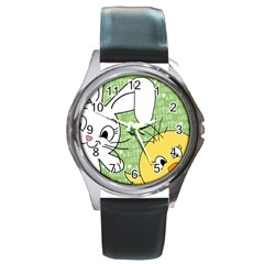 Easter bunny and chick  Round Metal Watch