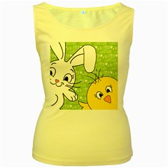 Easter bunny and chick  Women s Yellow Tank Top