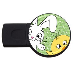 Easter bunny and chick  USB Flash Drive Round (1 GB)