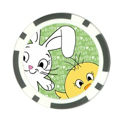 Easter bunny and chick  Poker Chip Card Guard