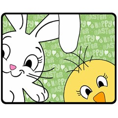 Easter bunny and chick  Double Sided Fleece Blanket (Medium)