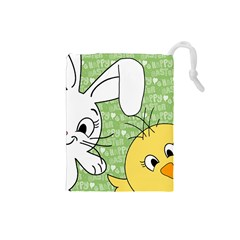 Easter bunny and chick  Drawstring Pouches (Small)