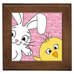 Easter bunny and chick  Framed Tiles