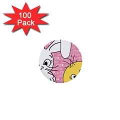 Easter bunny and chick  1  Mini Buttons (100 pack)