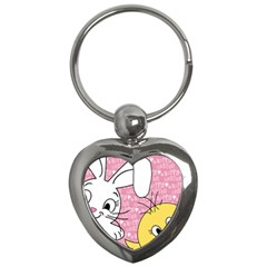 Easter bunny and chick  Key Chains (Heart)