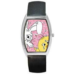 Easter bunny and chick  Barrel Style Metal Watch