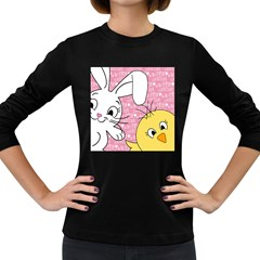 Easter bunny and chick  Women s Long Sleeve Dark T-Shirts