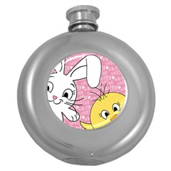 Easter bunny and chick  Round Hip Flask (5 oz)