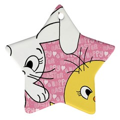 Easter bunny and chick  Star Ornament (Two Sides)