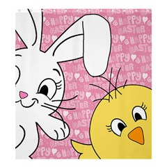 Easter bunny and chick  Shower Curtain 66  x 72  (Large)