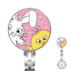 Easter bunny and chick  Stainless Steel Nurses Watch