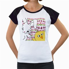 Easter Bunny And Chick  Women s Cap Sleeve T