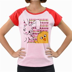Easter bunny and chick  Women s Cap Sleeve T-Shirt