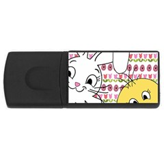 Easter bunny and chick  USB Flash Drive Rectangular (1 GB)
