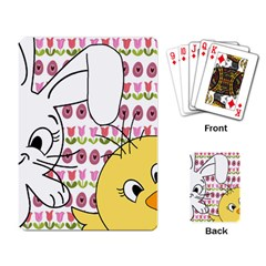 Easter bunny and chick  Playing Card