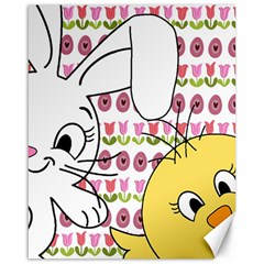 Easter bunny and chick  Canvas 16  x 20