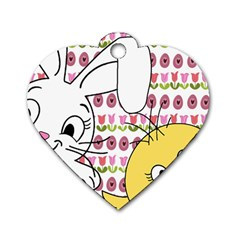 Easter bunny and chick  Dog Tag Heart (Two Sides)