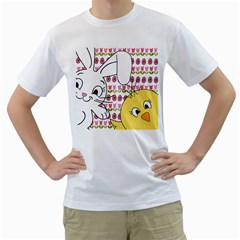 Easter bunny and chick  Men s T-Shirt (White)