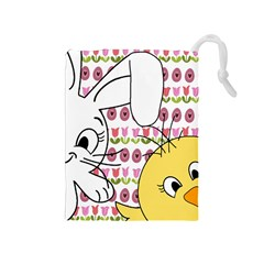 Easter bunny and chick  Drawstring Pouches (Medium)