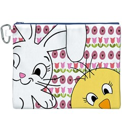 Easter bunny and chick  Canvas Cosmetic Bag (XXXL)