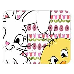 Easter bunny and chick  Double Sided Flano Blanket (Large)